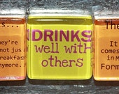 "Alcohol Drink Quotes - 7/8"" Glass Magnets"