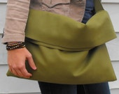 Foldover Boho Bag Vegan Faux Leather Suede Avocado Green