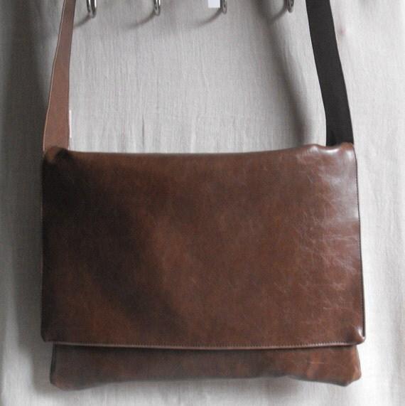 Messenger Laptop Record Bag Unisex Chocolate Brown Vegan Faux Leather