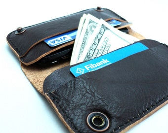 iPhone case & wallet- brown leather