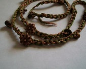 Olive and Pale Pink Crocheted Bracelet/Necklace