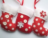 Set of 3 - Red and white Christmas stocking ornaments