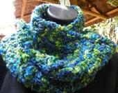 Sky Blue and Green Grass Scarf   Neck Warmer   Mohair Yarn  Hand Crochet