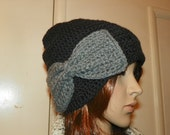 Oakland Raiders Hat Black Slouchy Hat with a Gray Bow   Hand Crochet Size Teen or Adult