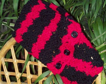 Black and Red Zebra Scarf Cowl Neck Warmer Hand Crochet Gothic Cowl