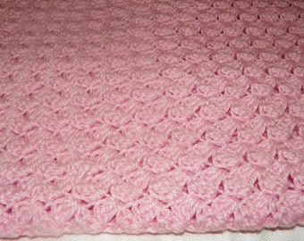 Beautiful Pink Afghan Baby Blanket   Unique Stitch Hand Crochet