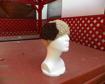 Oatmeal with a CoCo Flower Head Wrap Ear Warmers Headband Turban Hand Crochet