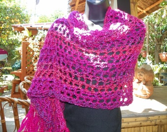 Hot  Magenta Hot Pink Shawl Wrap Stole  Hand Crochet