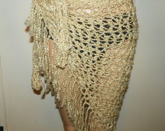 Beach Sarong Ivory Silky  Wrap Hand Crochet One of a Kind