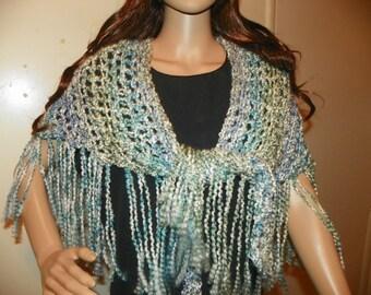 Silky Sea Breeze Shawl Wrap Neck Warmer Bikini Wrap Blue Ivory and Silver Gray  or wear as a Shawl Hand Crochet