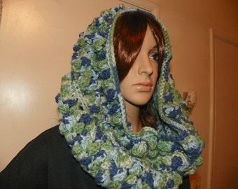 Shades of Sky Blue and Mint Green Unique Cowl Hood Neckwarmer All in one Hand Crochet