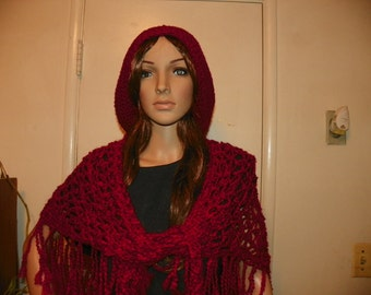 Beautiful Ruby Red Shawl / Neckwarmer Hand Crochet Shape Triangle (slouch Hat not included)