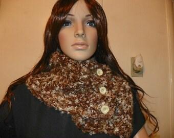 Shiny Gold on Earthtone Scarf  Beautiful Cowl Neck Warmer Hand Crochet