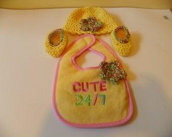Baby Bid Set Sunshine Yellow  Cute 24/7 Bib Set Hat   Size 3-6M Hand Crochet Baby Shower Gift Set