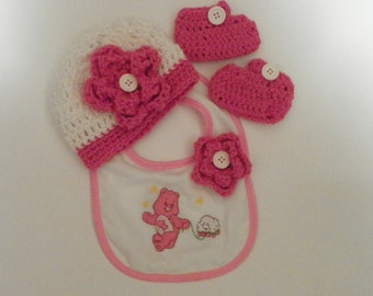 Baby Showe Gift  Cute As a Button Care Bears  Size 0-3M Hand Crochet