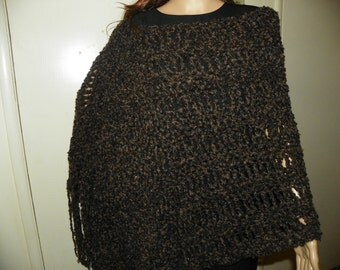 Stunning Brown and Black Poncho Very Unique Hand Crochet