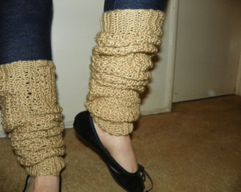 Oatmeal Beige Leg Warmers Over the Knee Made to keep you nice and Warm Hand Crochet