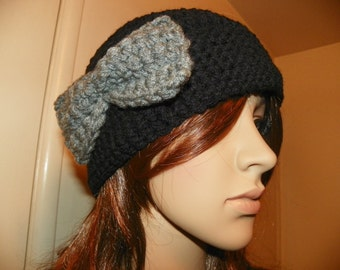 Black Cloche Hat with a Gray Bow  Oakland Raiders Hat Hand Crochet