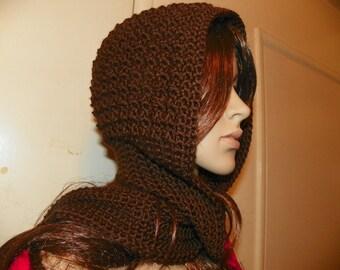 Beautiful Elegant Silky Brown Scoodie Hooded Scarf  Neck Warmer all in one
