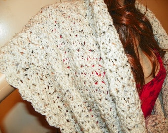 Beautiful  Wrap Shawl Stole Arron with Flecks Rectangle  Perfect for a Gift  Hand Crochet