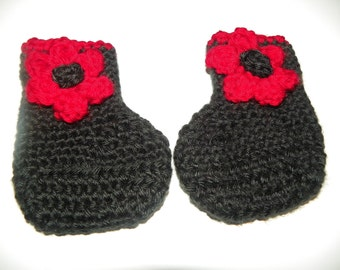 Adorable Black with Red Flowers   Boot Booties  Size Newborn- 24Months Hand Crochet