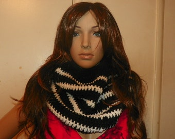 Infinity Scarf Black and White Cowl Hoodie Neck Warmer Black and White Hand Crochet
