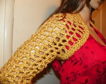 Gold Cropped Sweater Belero  Sizes Small-XXLarge Hand Crochet
