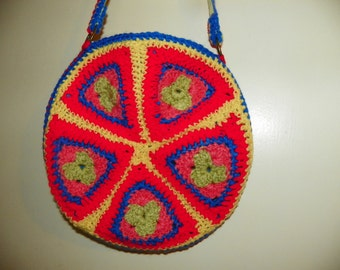 60's Hippie Style Purse Round with the Colors of the 60's One of a Kind Hand Made Very
