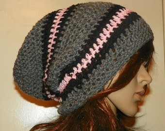 Gray Slouch  With Black and Pink Stripes Hat Slouchy Beanie Hat Hand Crochet