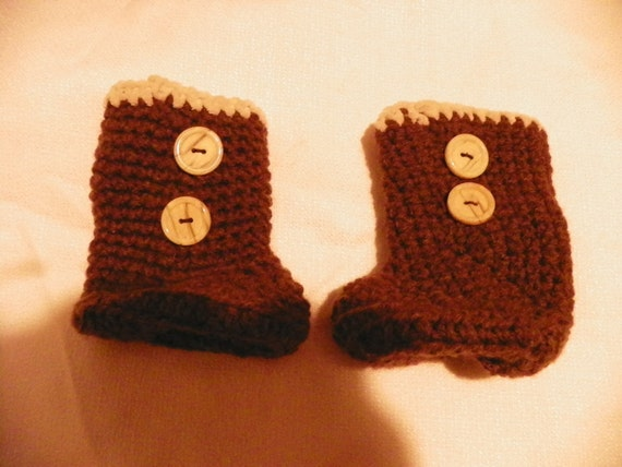 Brown Booties Boot Style Booties Size 9- 12Monthes Hand Criochet
