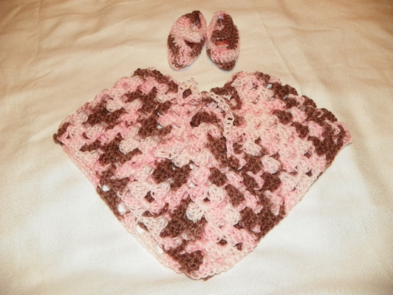 Pretty in Pink and Brown Baby Poncho Set with Mary Jane Booties 0-4M Hand Crochet