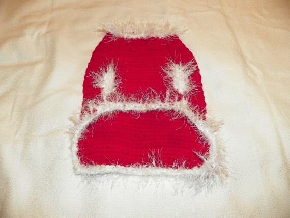 Christmas Dog Sweater Dark Magenta Red with White Fur Trim Small Hand Crochet