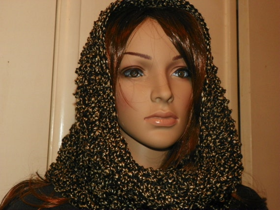 Beautiful  Black with Gold Cowl Hood  Neck Warmer Very Classy  Hand Crochet