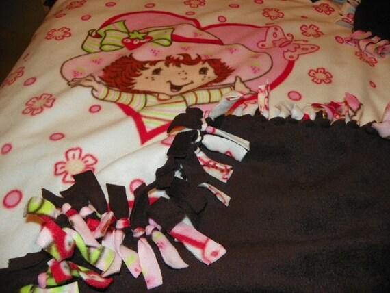 Strawberry Shortcake Double Fleece Blanket Throw for Baby Teen Adult Hand Made