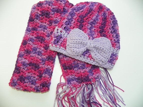 Girls Slouchy Purple  Pink and Lavender  Hat with a Bow and Scarf Set Girls Size 5-8 Slouchey Hat Set  Hand Crochet