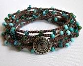Turquoise Blue Beaded Wrap Bracelet