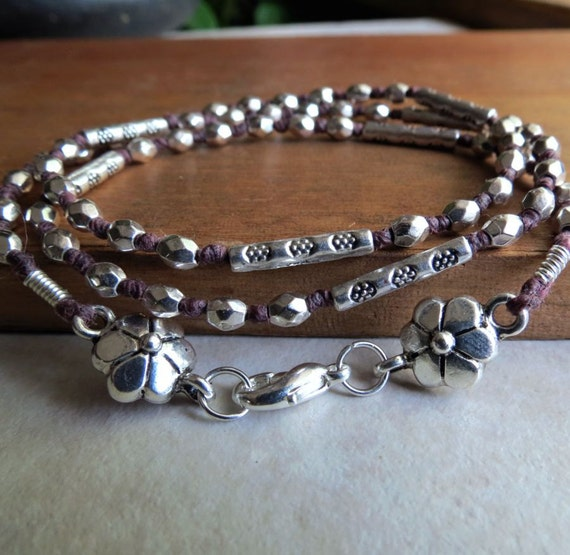 Hand-Knotted Brown and Silver Wrap Bracelet
