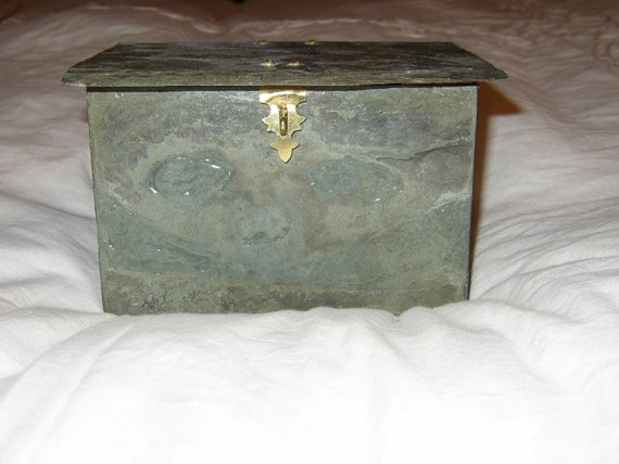 Weather beaten slate handmade box with hinged lid #ML-8
