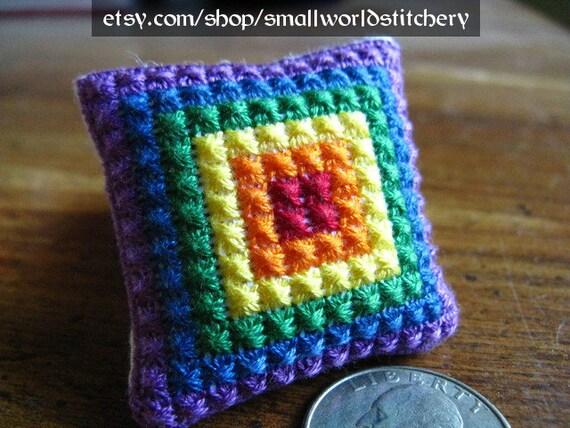Miniature Cross Stitch Doll House Pillow - Rainbow pattern