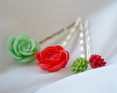 Red & Green Christmas Flower Bobby Pins