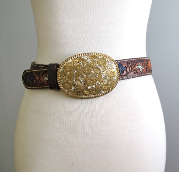 Vintage Tooled Leather Belt  with Bronze Buckle  //  Hand Tooled Hand Painted Wilma Belt