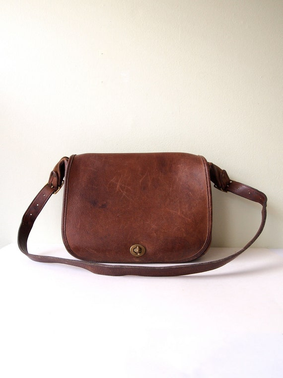 Vintage COACH Saddle Bag NYC in Chocolate Brown