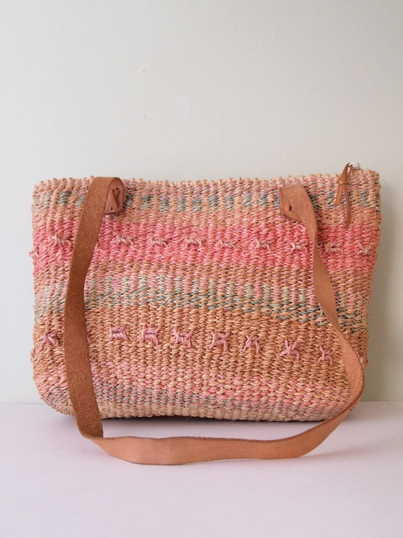 Woven Bag with Leather Handles //  Sisal Jute Tote