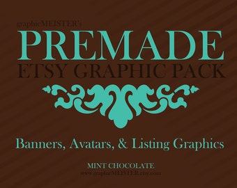 Premade Banner, Avatar, & Listing Graphics - 9 Piece Set - Mint Chocolate