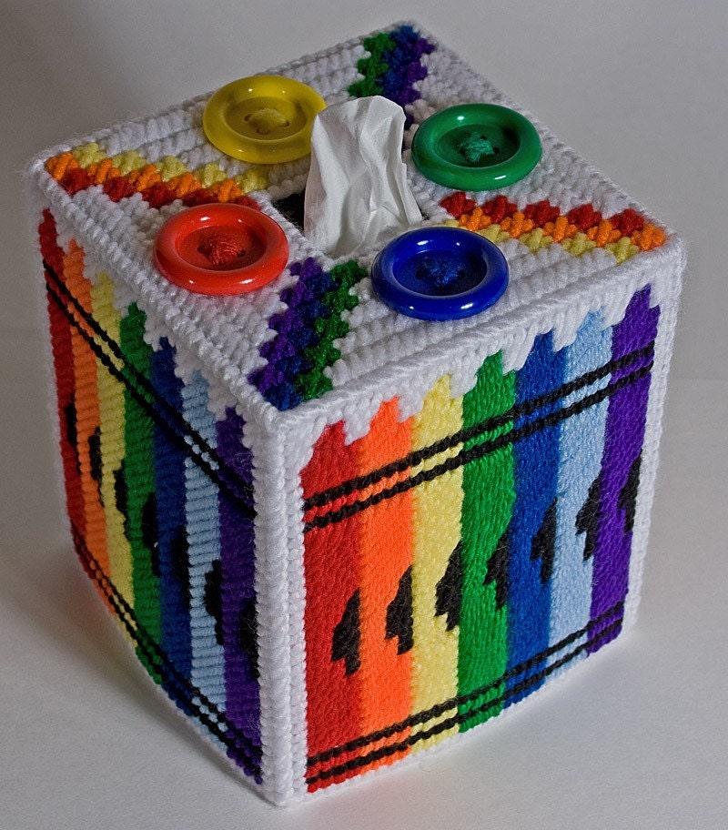 Crayon Plastic Canvas Tissue Box Cover