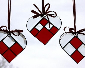 Cherry Red Stained Glass Hearts