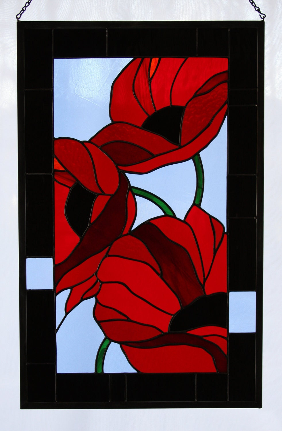 Red Stained Glass : Red poppies in flanders fields stained glass panel made to