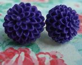 Chrysanthemum Cabochon Earrings Deep Purple Fall Flowers Simple Studs Floral Simple Mums Dark Purple Gold Plated