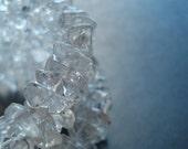 Quartz Crystal Bracelet Memory Wire Ice Princess Winter Wedding Bride Large Cuff Dramatic Statement Clear