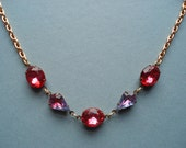 Estate Style Necklace Old Hollywood Glamour Formal Sparkle Vintage Glass Stones Pink Purple Tear Drop Oval New Years Eve